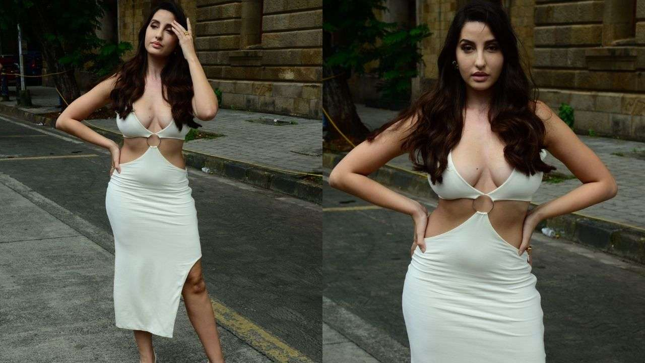 Nora Fatehi snapped in sexy white dress