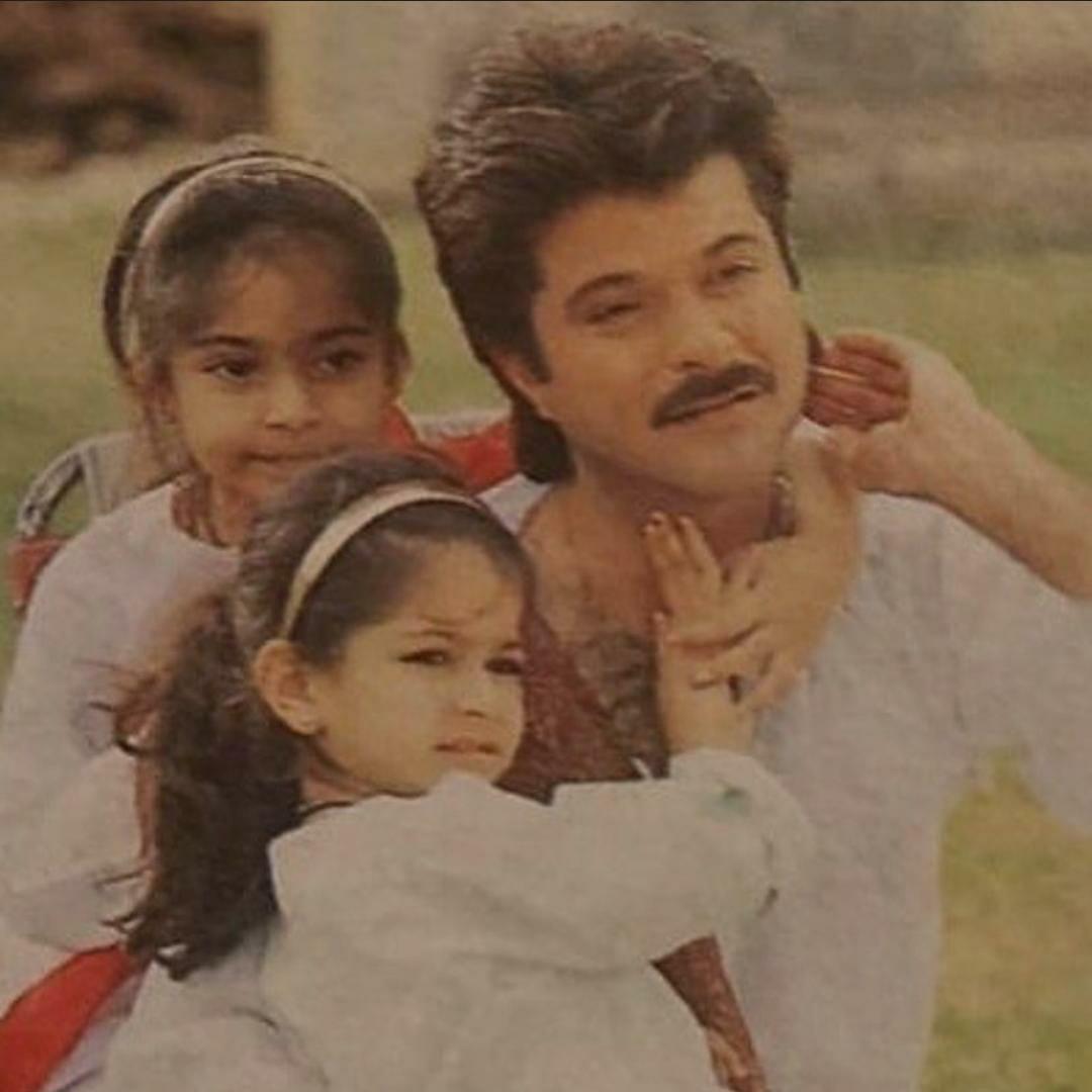 Anil Kapoor with Little Sonam & Rhea
