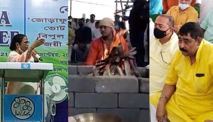 Anubrata Mandal offers puja at Tarapith for victory of Mamata Banerjee in Bhawanipore