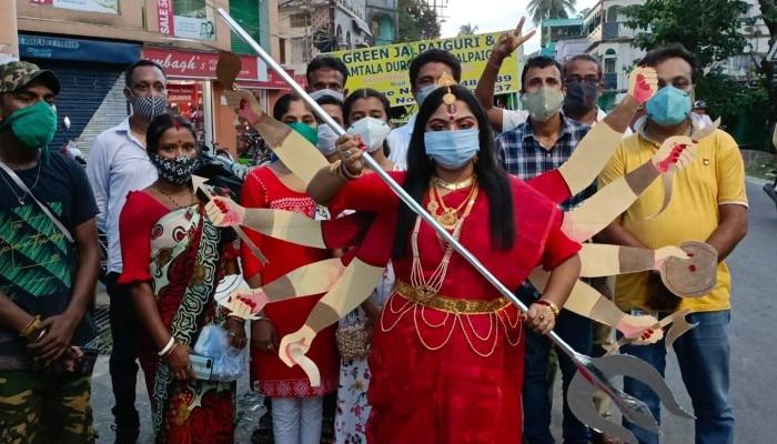 Goddess Durga campaigns to prevent coronavirus in Jalpaiguri