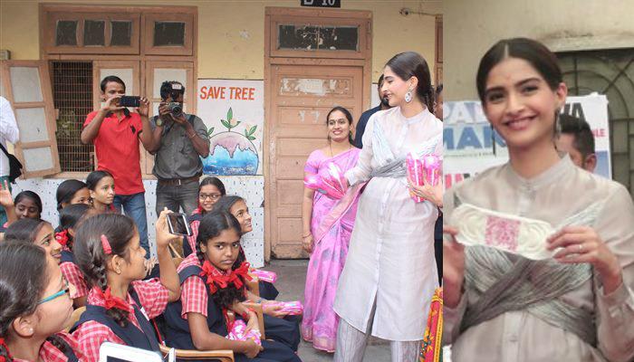 স্কুলের ছাত্রীদের মধ্যে স্যানিটারি ন্যাপকিন বিলি করলেন সোনম