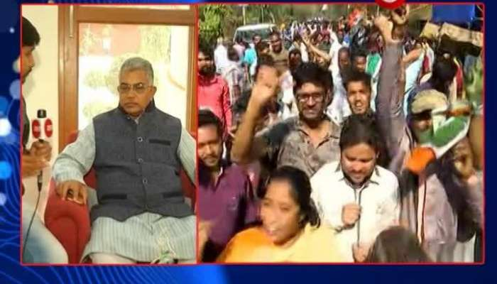 TMC workes celebrate; what is Dilip Ghosh thinking about the current vote count?