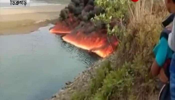 Massive fire breaks out on the Burhi Dihing river in Assam's Dibrugarh