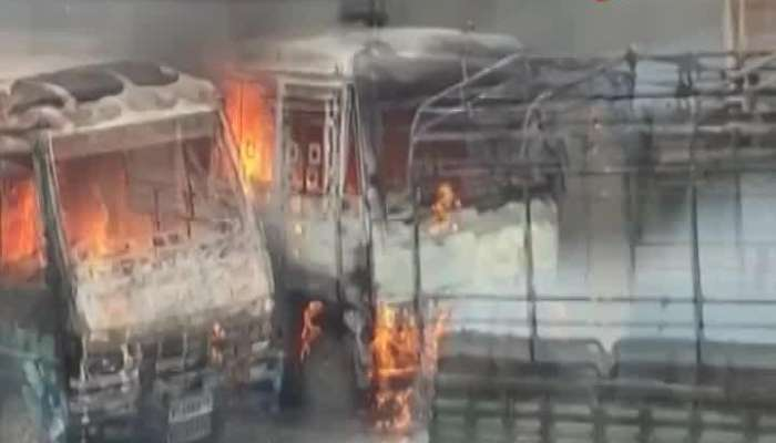 BUS AND SIX POLICE VEHICLES BURNED in Chupri