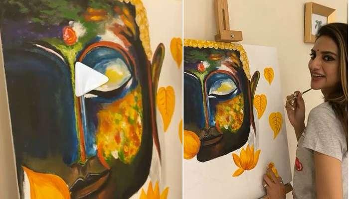 তুলির টানে ফুটে উঠল গৌতম বুদ্ধের ছবি, দেখুন চিত্রশিল্পী নুসরত জাহানকে