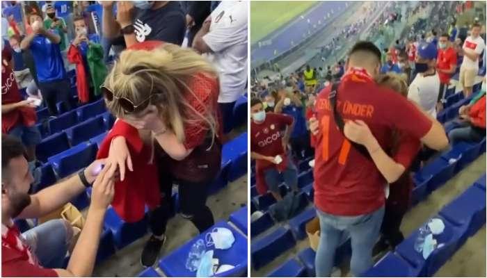 UEFA Euro 2020: গ্যালারিতে হাঁটু মুড়ে বসে হাতে আঁংটি নিয়ে বিশেষ প্রস্তাব! বাতাসে ভালবাসা ছড়িয়ে দিলেন তুরস্কের কাপল