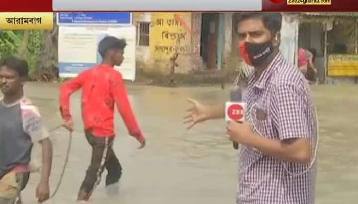 Water flow at Arambag on State highway 2, vast area flooded, multiple rivers overflowing after heavy rains