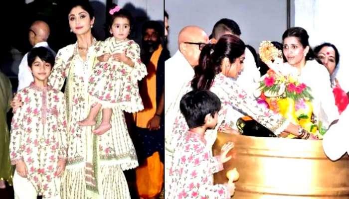 স্বামী Raj Kundra জেলবন্দি, দুই সন্তানকে সঙ্গে নিয়ে গণপতি নিরঞ্জন Shilpa-র