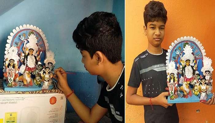 #উৎসব : ১২ বছরের কৌরব টবের মাটিতেই বানাল ১২ ইঞ্চির 'মিনি দুর্গা'