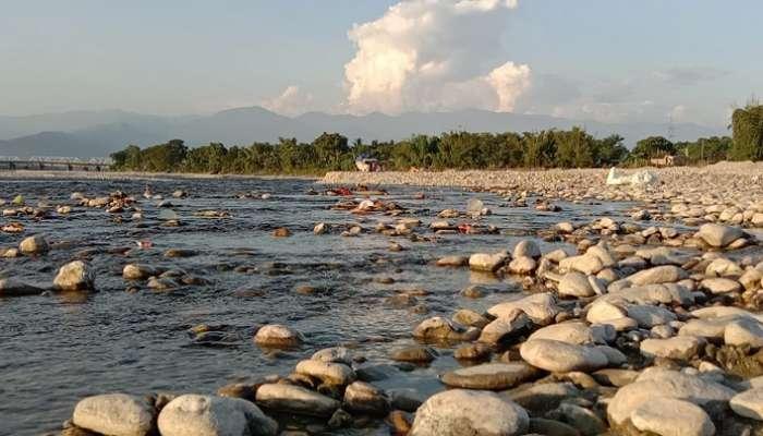 #উৎসব : জলশূন্য নদীতে আটকে প্রতিমা, বিপাকে বিসর্জন