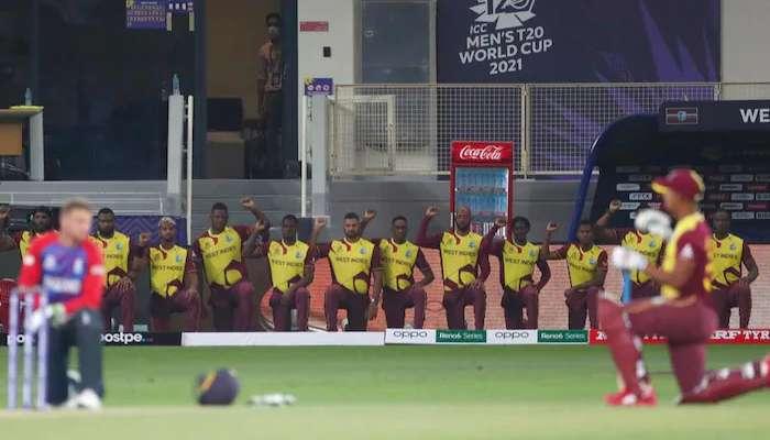 T20 World Cup: খেলায় বৈরী, বর্ণবিদ্বেষের প্রতিবাদে এক জোট England-West Indies